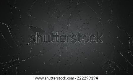 Many pieces of Shattered glass on black. Large resolution - stock photo