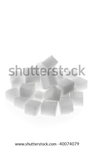 Many pieces of sugar to sweeten it isloiert on a white background