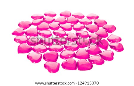 many pink hearts glass isolated on white background