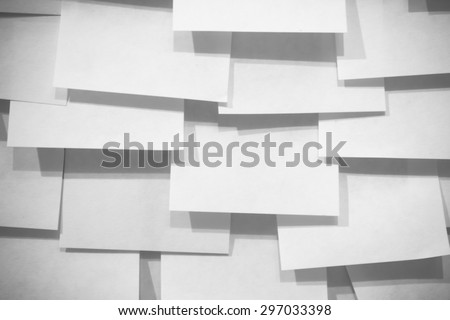 Many post it note and shadows - black and white effect - stock photo