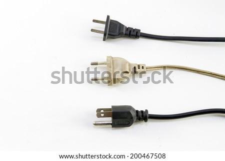 Many power supply plugs isolated on white background - stock photo