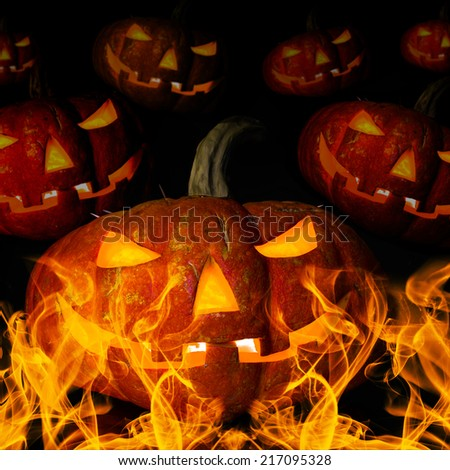 many pumpkin with flame, concept  religious  feast  Halloween - stock photo