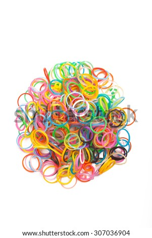 Many rainbow colored  loom rubber rings . Macro Picture