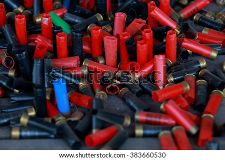 many randomly scattered cartridges - stock photo