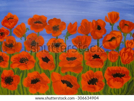 Many red poppies on blue sky, oil painting. - stock photo