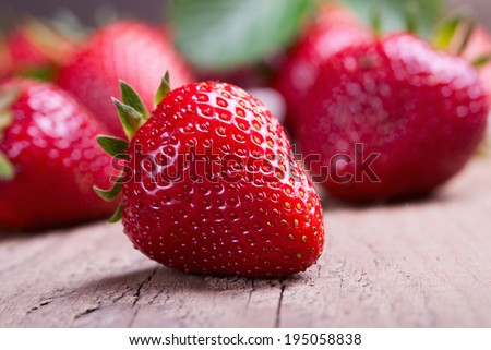 many red ripe strawberries. food background - stock photo