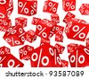many red sale percent cubes fall down - stock photo