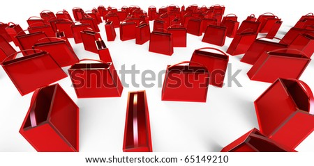 many red shopping bags