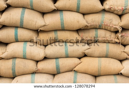 Many rice sacks in row