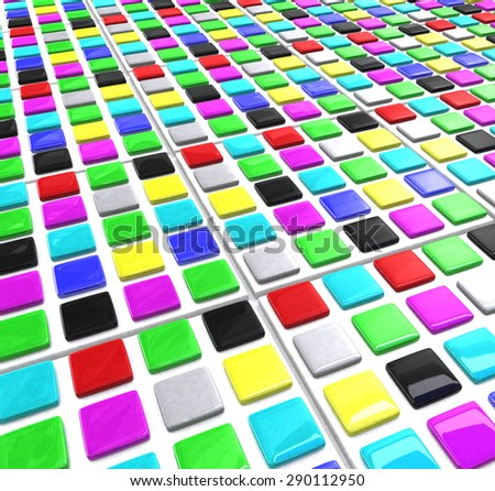 Many rows of square color blocks - stock photo