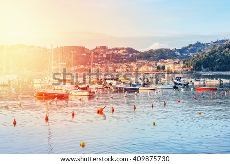 Many sailing boats in the sea near Lerici, Liguria province, Italy. Filter effect applied. - stock photo