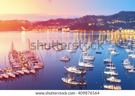 Many sea yachts and boats near Lerici, Liguria region, Italy. Filter effect applied. - stock photo