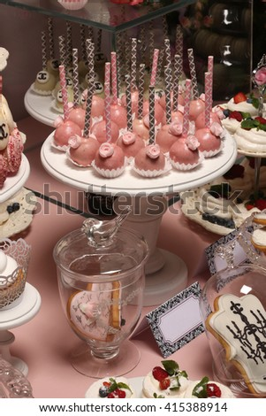 Many servings of sweet tasty dessert on buffet. - stock photo