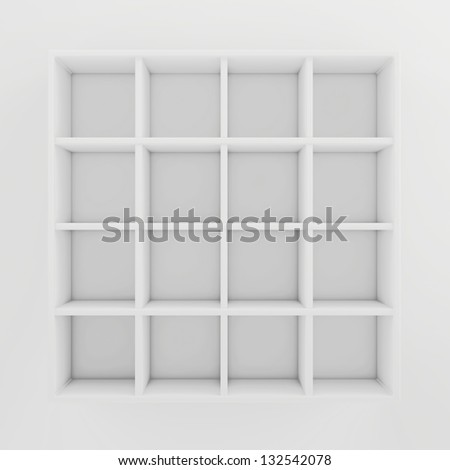 many shelves - stock photo