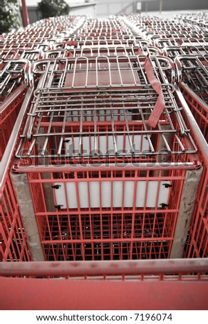 many shopping carts together - stock photo
