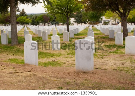 many similar gravestones in a national cemetery - stock photo