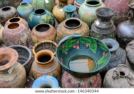 Many size of Thai style clay pot