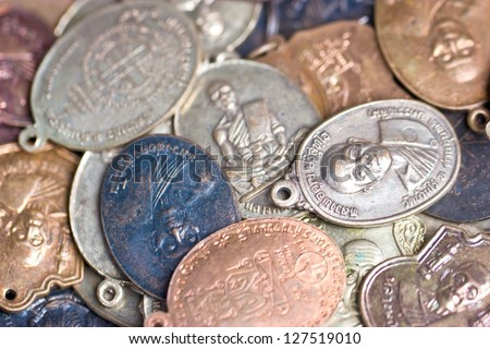 Many Small Buddha Coin Monk - stock photo