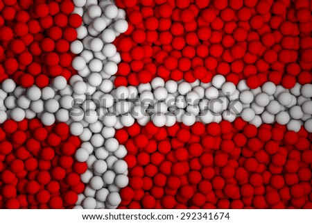 Many small colorful balls that form national flag of Denmark. 3d render image. - stock photo