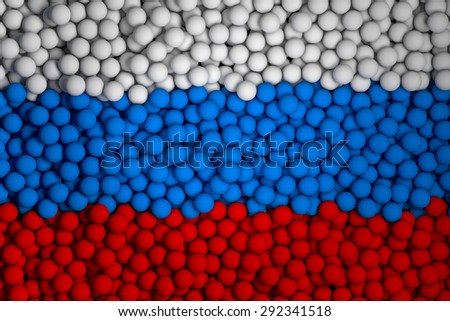 Many small colorful balls that form national flag of Russia. 3d render image. - stock photo