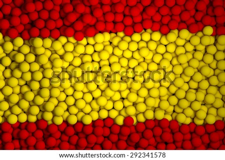 Many small colorful balls that form national flag of Spain. 3d render image. - stock photo