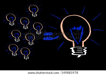 Many small ideas can lead to a big one illustrated with lots of small light bulbs and one big bulb on a black background. Many small ideas leads to a big one.