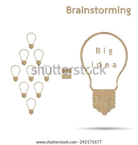 many small light bulbs ideas equal big lightbulb idea isolated on white, design from burlap