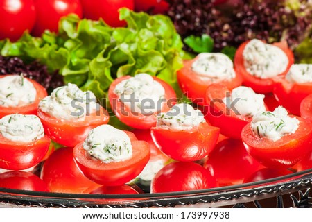 Many small tomatoes stuffed with cheese with dill - stock photo