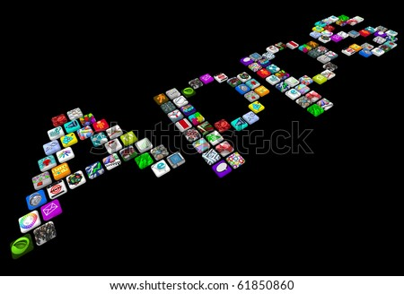 Many smart phone app icons spell out the word Apps - stock photo