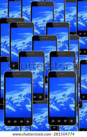 many smart-phones with image of blue sky - stock photo