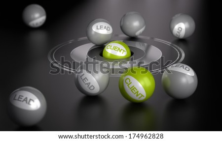 Many spheres over black background  with target in the center on green ball in the center. Marketing concept image, converting leads into client or customers. - stock photo