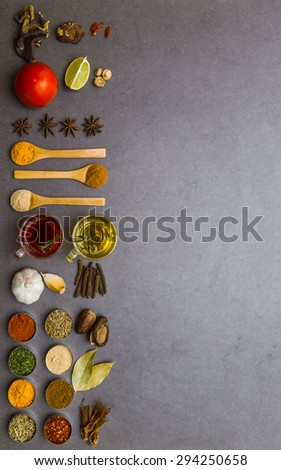 Many spices and herbs selection background for decorate design project. Spices mix selection background for decorate design project  - stock photo
