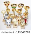 many sports awards  on a white background - stock photo