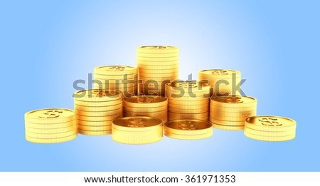 Many stacks of golden coins isolated on white background
