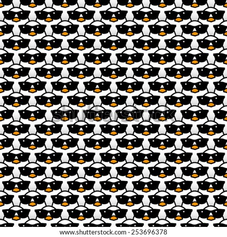 Many Staring White Chicks Wearing Cool Black Sunglasses Staring at camera in a Pattern - Raster - stock photo