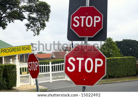 many stop signs to confuse drivers
