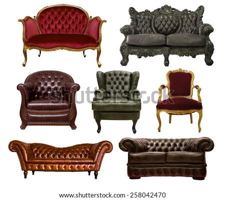 many style of vintage sofas isolate on white background - stock photo