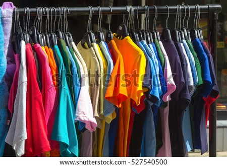 Many summer dresses in various colors