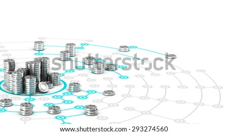 Many symbolic coins on a collaborative network. Conceptual 3D image for illustration of crowdfunding. - stock photo