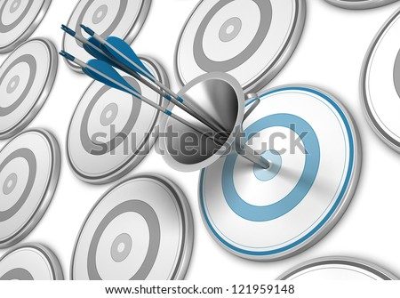 Many targets and a blue one pierced by three arrows thanks to a funnel - stock photo