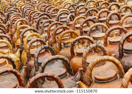 Many teapots waiting to be sold at a factory in Vietnam