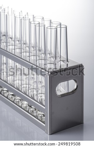 many test tube and the test tube rack - stock photo