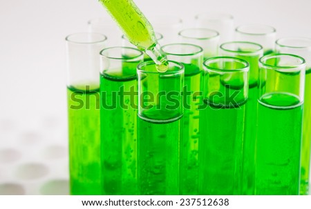many test tubes in a test in a research laboratory of a university. symbolic photo for learning and researching. - stock photo
