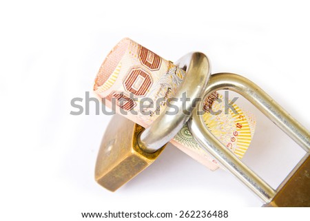 many thai bills are locked with a lock - stock photo