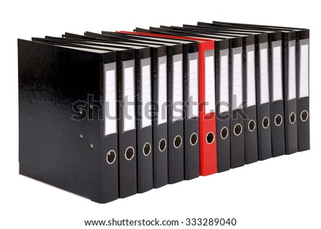 Many the big black folders on a white background. One red folder - stock photo