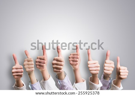 many thumbs up - stock photo