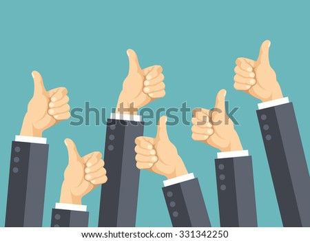 Many thumbs up. Social network likes, approval, customers feedback concept. Modern flat design concepts for web banners, web sites, printed materials, infographics. Creative flat illustration - stock photo