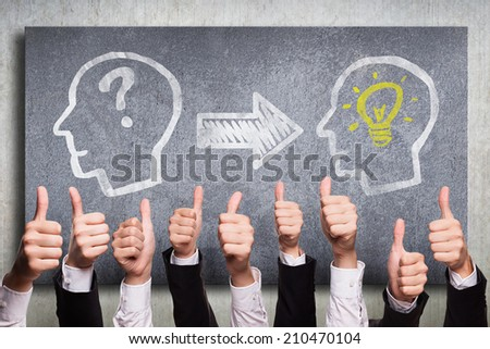 many thumbs up to an idea  - stock photo