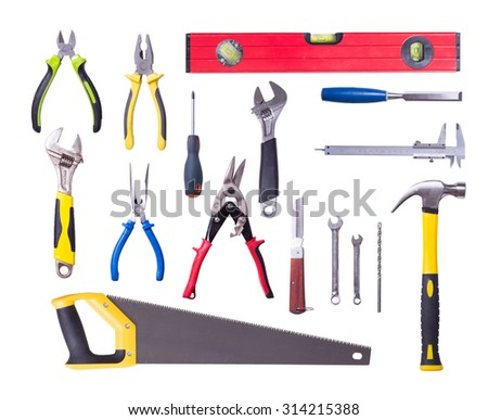 Many Tools isolated on white background .
