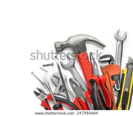 Many Tools isolated over white background with copy space - stock photo